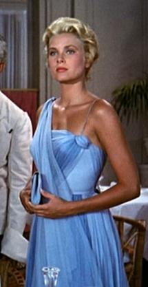 Grace Kelly wearing a blue chiffon dress. I love her in this dress, she looks so elegant.