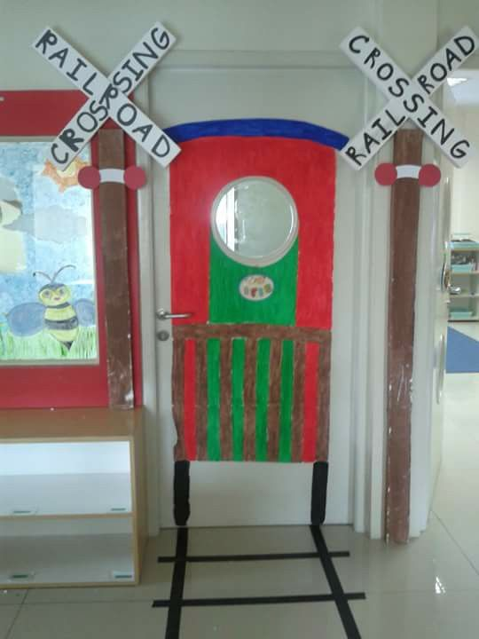 Our theme is Transportation so i had made a train on my class door. The kids love it!