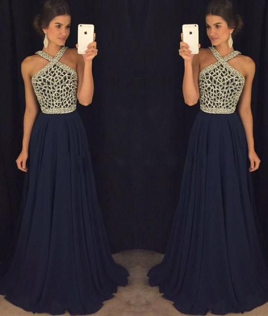 bf213ab98f Dark blue beaded long prom dress for teens