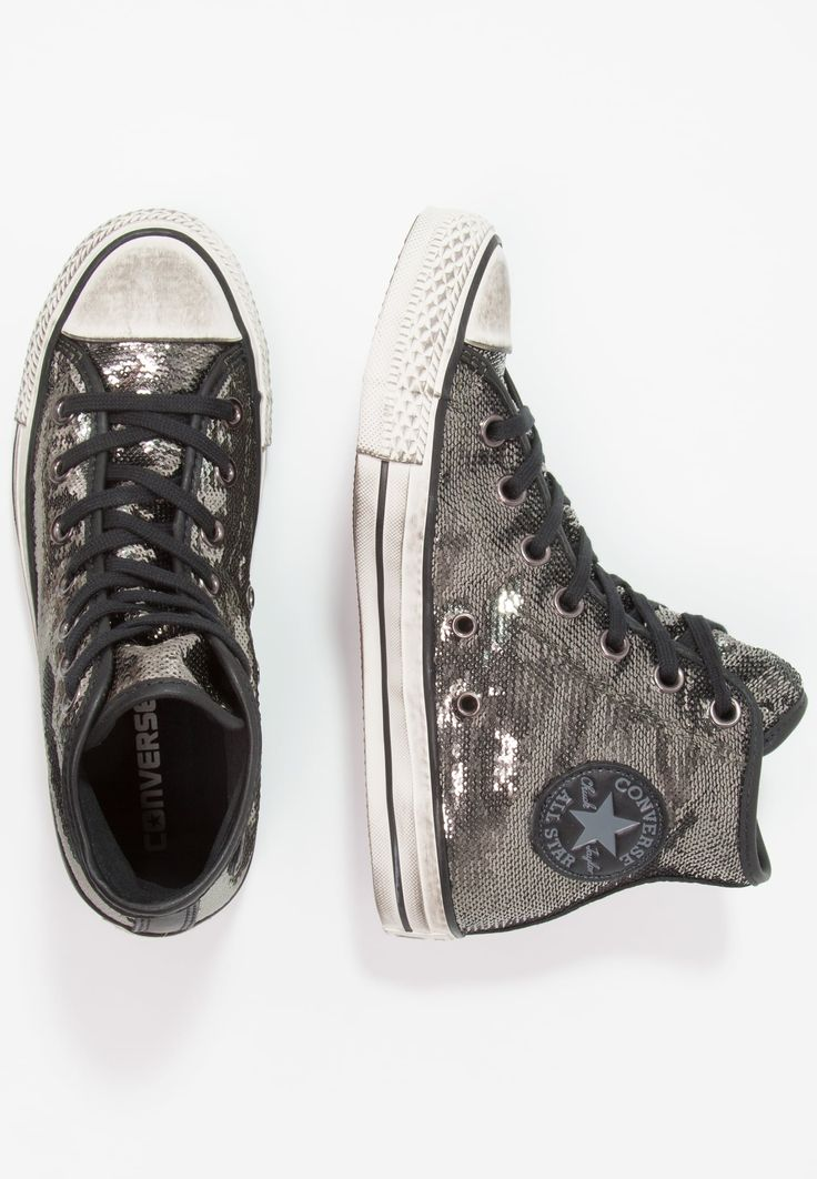 Converse CHUCK TAYLOR ALL STAR HI SEQUINS DISTRESSED - Zapatillas altas - thunder/black - Zalando.es