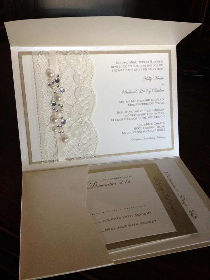 Sample Lace and Rhinestone Wedding Invitation, RSVP card, Lodging card, Directions card. $10.00, via Etsy.