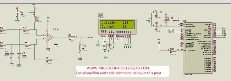 AC voltage measurement using PIC microcontroller and op-amp, Ac voltage measurement using ADC and operational amplifier and PIC16F877A microcontroller.
