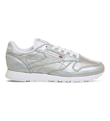 REEBOK Classic metallic-leather sneakers. #reebok #shoes #
