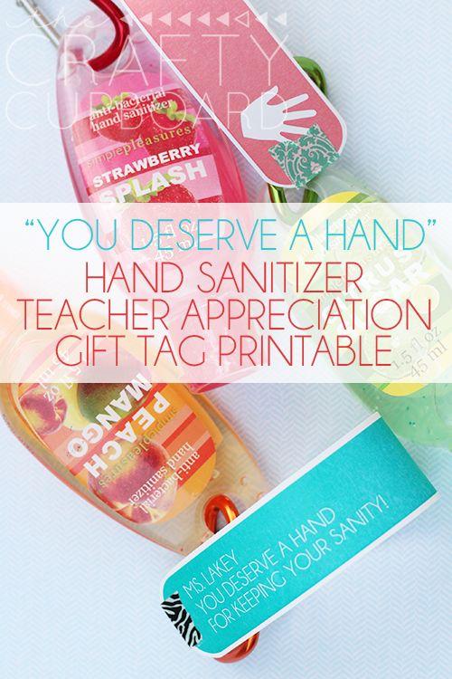 Hand Sanitizer Teacher Appreciation Gift Tag Printable