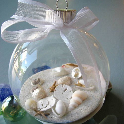 This will be a great way to remember our beach vacation. Fill a clear glass or plastic ornament with craft store white sand and tiny seashells from the beach.