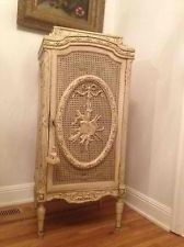 SUPERB! ANTIQUE FRENCH CANE CABINET! BARBOLA SWAGS ROSE GARLANDS! CHIC! VINTAGE!