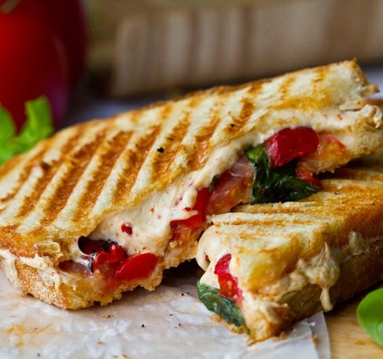 TOMATO BASIL ROASTED PEPPER PANINI | Recipes I want to try | Pinterest