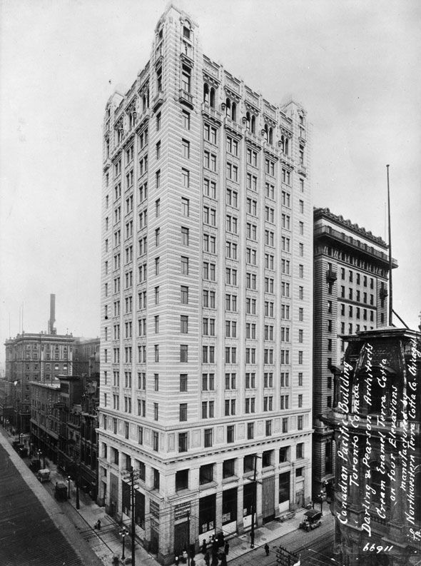 The Canadian Pacific Building on the southeast corner of King and Bay in 1912, the year before it was completed as the tallest building in the British Empire. toronto 1910s