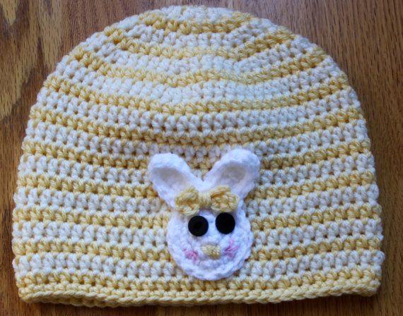 Bunny Beanie by NattyNeedlework on Etsy, $23.00