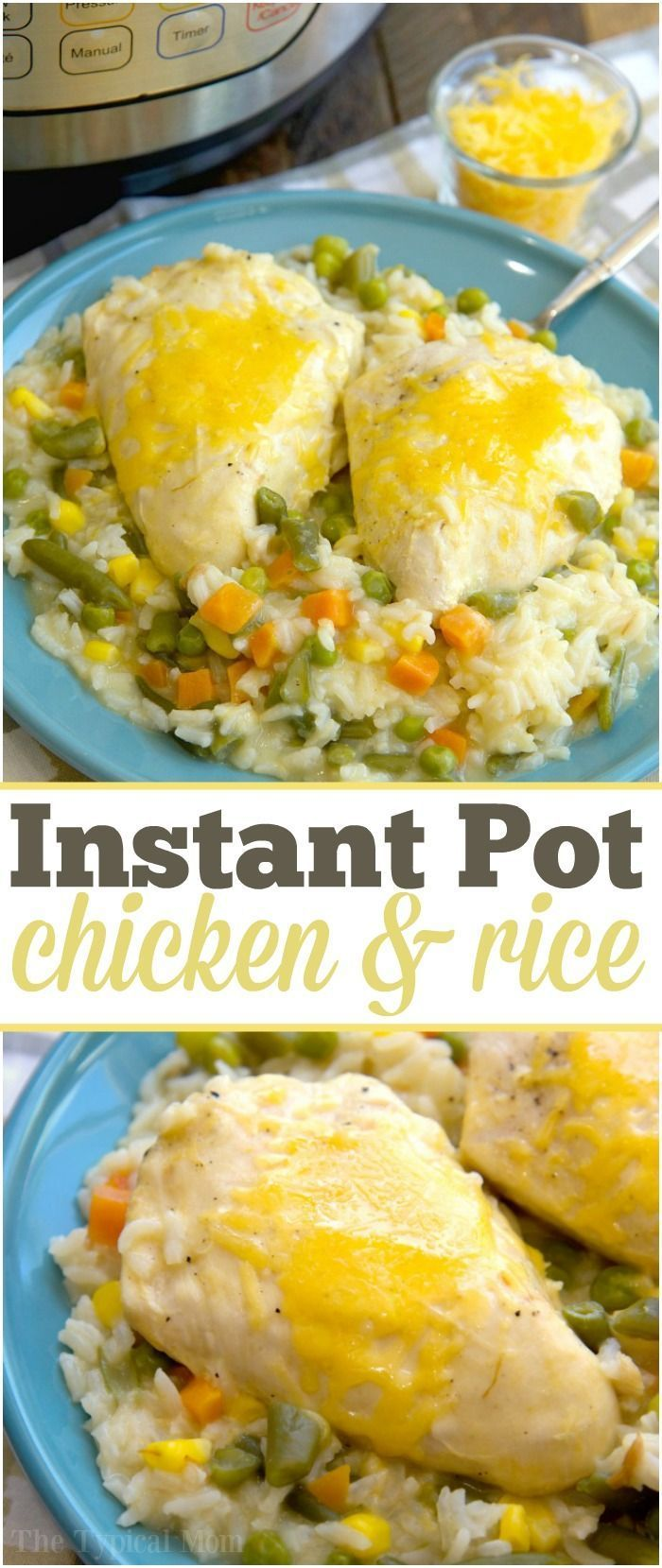 Amazingly easy pressure cooker chicken and rice casserole recipe we make in our Instant Pot. Just 16 minutes cooks chicken, rice and vegetables perfectly. via @thetypicalmom