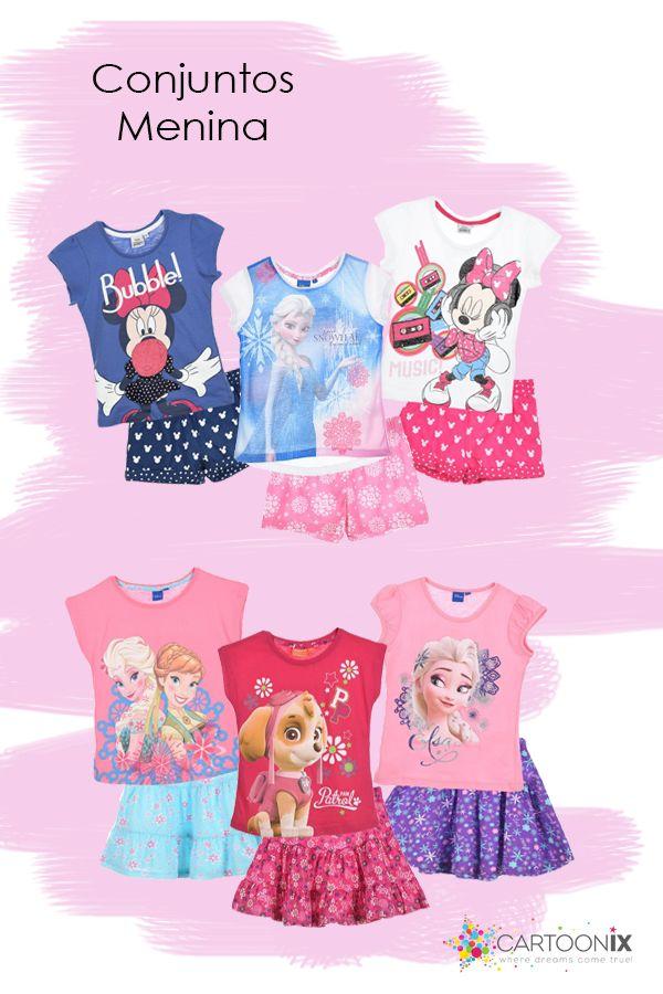 Conjuntos de T-shirt e saia ou T-shirt e calções para menina das personagens preferidas Disney: Frozen, Patrulha Pata e Minnie. Veja mais em www.cartoonix.com