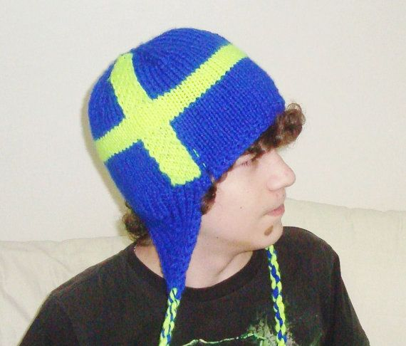 Hand Knit Hat Mens Hat  Sweden Flag Hat in Blue & by earflaphats, $39.99