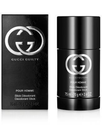 GUCCI GUILTY Pour Homme Deodorant Stick, 2.6 oz $29.00 Young, fearless, with impeccable taste, the wearer of GUCCI GUILTY Pour Homme is a hero for our age – exuding charisma and more than a little dangerous. GUCCI GUILTY Pour Homme is an intense and individual contemporary fougère that provokes as it seduces. The scent seizes hold of the senses with a heady cocktail of invigorating Italian lemon and mandarin alongside crushed green leaves, fresh lavender and a defiant punch of pink pepper…