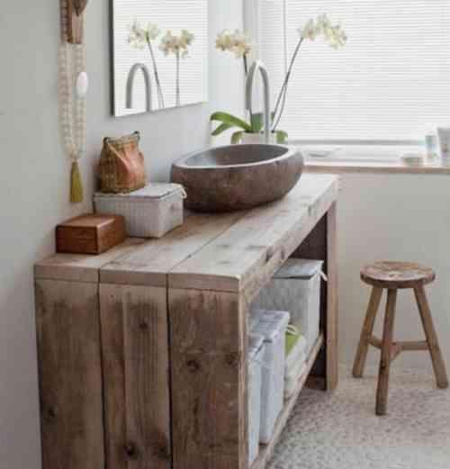 simple meuble en bois pour la salle de bain - Salle De Bains Bois