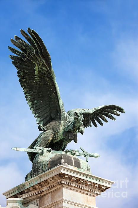 Mythical Turul Bird bronze statue from 1905, located next to the Buda Castle in Budapest, Hungary.
