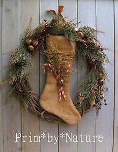 Primitive Feedsack Stocking Shabby Christmas Wreath Berries Bells Candy Canes