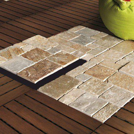 Lot de 4 dalles clipsables pierre naturelle, naturel, L.30 x l.30 cm x Ep.23 mm