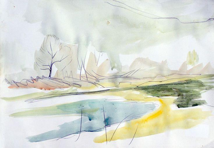 Landscape, pencil & watercolour on paper