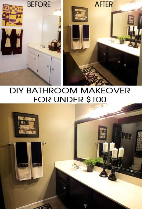DIY Bathroom Makeover for Under $100 - find out how I transformed my out of date bathroom for under $100 and in only one weekend. And for more great Home Project Crafts follow us on Pinterest.