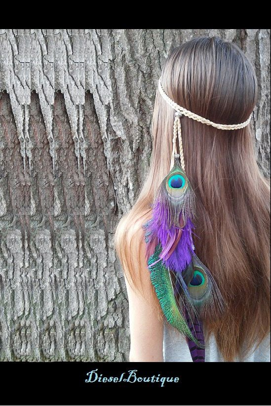 La divine paon, plume, bandeau, paon, bandeau, Native American, Style, coiffure tressée, indien, hairband, violet, clapet, boho