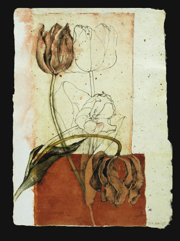 Susan Wood  - Bleeding Tulips.   Ink, watercolour, collage.