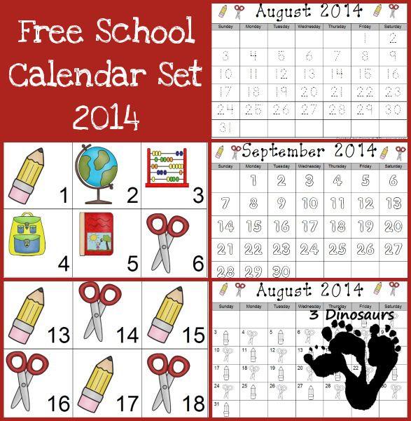 FREE 2014 School Calendar Set