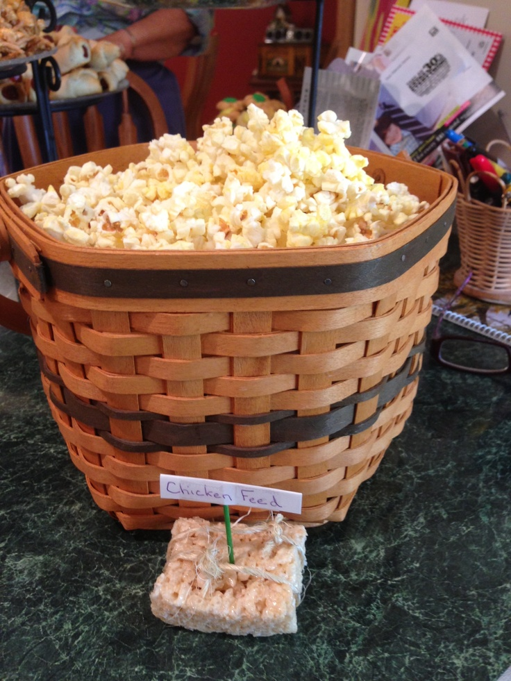 Chicken feed (popcorn) for farm theme birthday