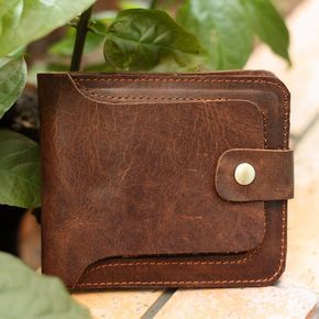 Handmade Crazy horse leather wallet-leather wallet-men wallet-Leisure wallet-Personality wallet-Short wallet-retro wallet--T052