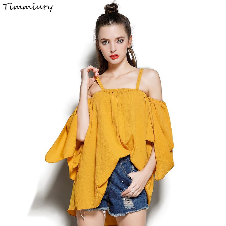 Timmiury Summer Women Chiffon Blouse A-line Off The Shoulder Flare Sleeves Blusas Loose Design Solid White/Yellow Kimono Shirts