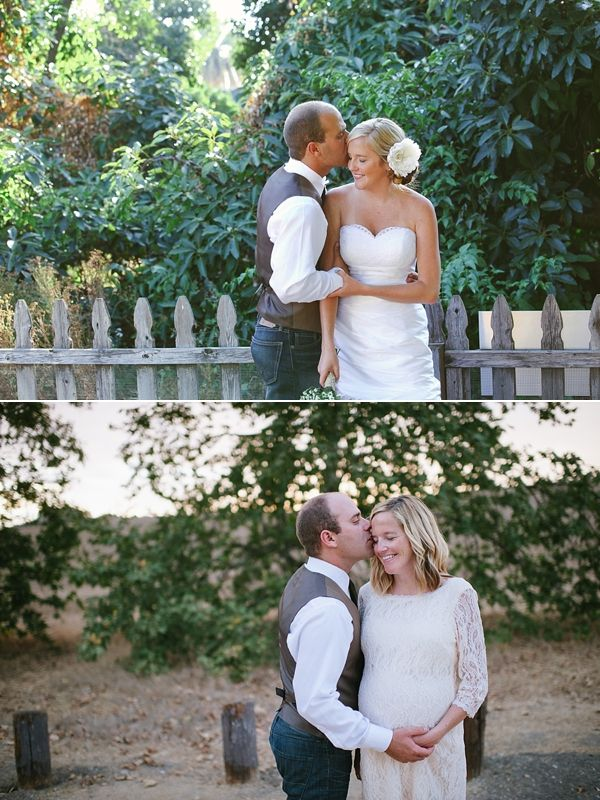 WEDDING DAY PHOTO vs. MATERNITY PHOTO - Re-create one of your wedding photos during your maternity session then frame them side by side. Such an amazing idea!  » Justin and Keary Weddings