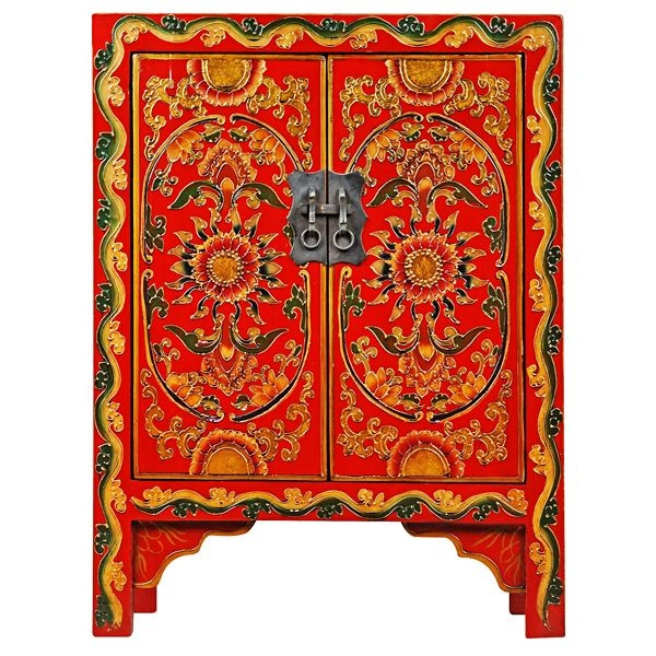 Delightful Hand Decorated Tibetan Side Table