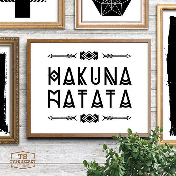 Decoración rústica HAKUNA MATATA flecha tribal vivero impresión decoración tribal tribal decorado del Rey León Disney inspirado poster de tipografía de flechas