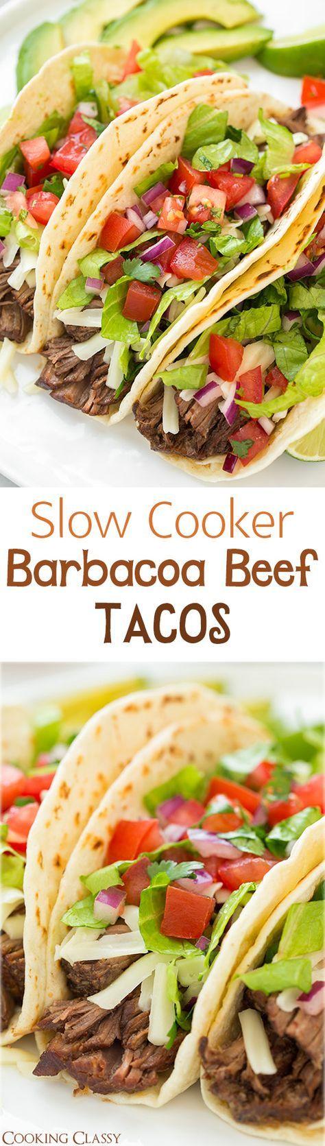 Slow Cooker Barbacoa Beef Tacos (Chipotle Copycat) | Recipe | Slow ...