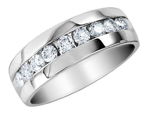 mens diamond wedding band 14 carat ctw in 14k white gold