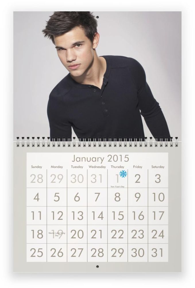 TAYLOR LAUTNER 2015 Wall Calendar - TWILIGHT STAR IS ON SALE TODAY ! $17.99 W/FREE USA SHIPPING !