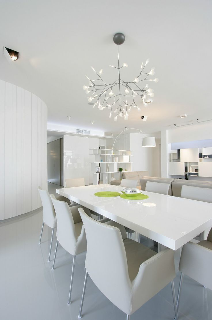 Apartments:Glowing White Modern Dining  Table Modern Chairs Stunning Arch Lamp With Open Shelves Awesome Chandeliers With White Marble Flooring For White Interior Design Ideas For Modern Apartment Living Room Ideas Glowing white Interior Design Ideas for Modern Apartment Living Room Ideas