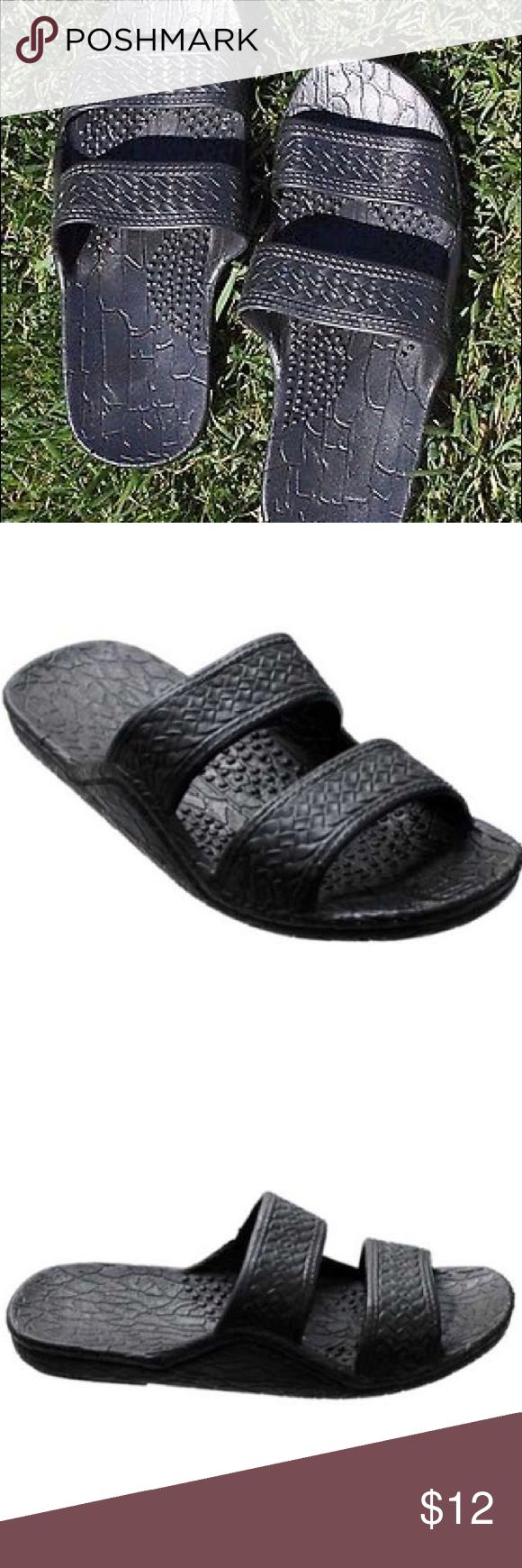 Unisex Hawaiian Two Strap Surf Sandal Classic rubber Jesus slide sandal or jandals featuring a two strap upper and infamous comfortable material. This unisex style is sized at the ladies scale. Women choose regular size, Men choose 1 size above your normal size. Worn Once                                                        - THE DETAILS:                                                         -  Waterproof Shoes Sandals