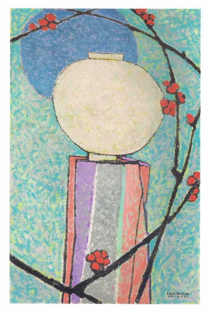 """""""ONE TOUCH OF NATURE MAKES THE WHOLE WORLD KIN."""" - William Shakespeare .........................* Kim Whanki 1913 - 1974. 달과 매화 - Moon and Plum Blossom 36"""" X 24"""" Oil on canvas. Seen @ NYC. https://www.facebook.com/kristoferong"""