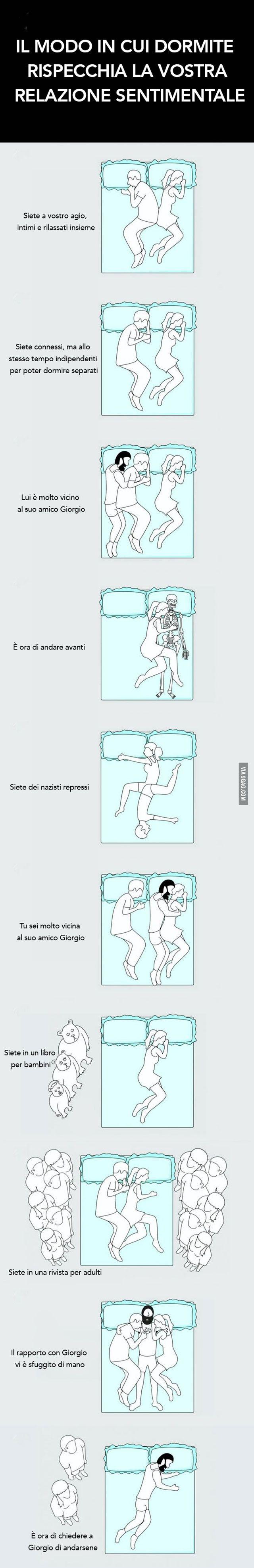 Il modo in cui dormite rispecchia la vostra relazione sentimentale