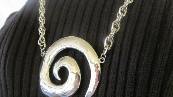 Chunky Hurricane Alley Statement Large Silver Swirl Necklace Parklane Jewelry Modernist Necklace  $45.00