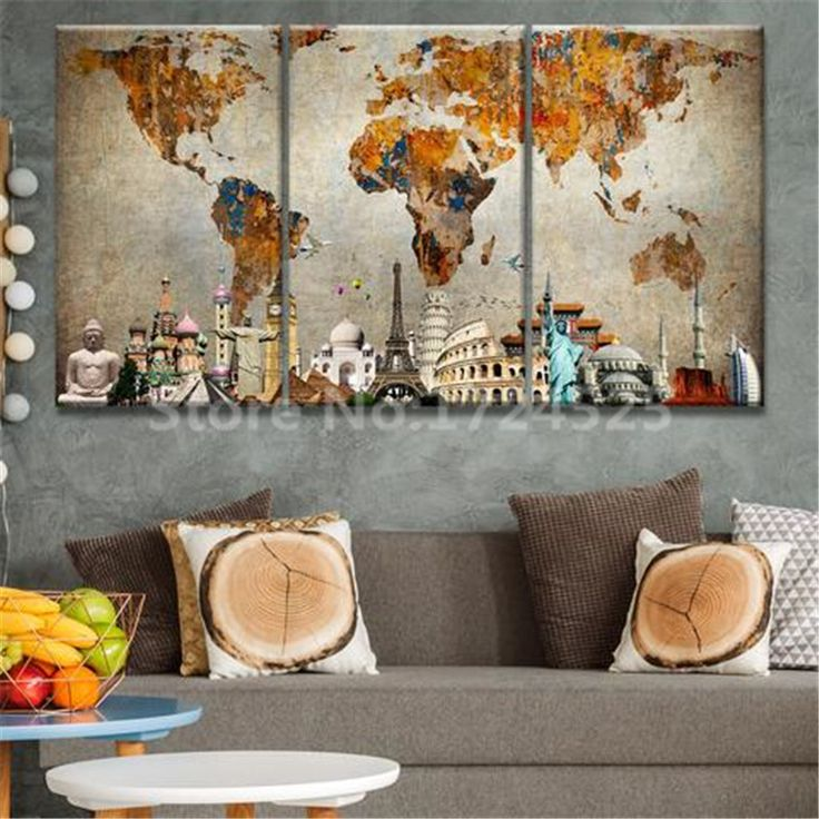 Aliexpress Com Buy Unframed 3 Panel Vintage World Map: Best 25+ Map Canvas Ideas On Pinterest