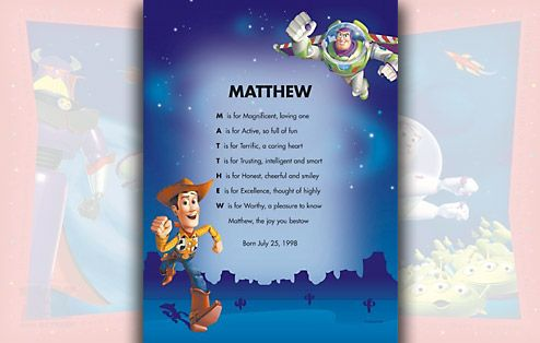I Just Love It Personalised Disney Toy Story Poem Personalised Disney Toy Story Poem - Gift Details. We use the letters of your childs first name to compose a unique and meaningful poem which is printed on a background featuring Buzz and Woody from T http://www.MightGet.com/march-2017-1/i-just-love-it-personalised-disney-toy-story-poem.asp