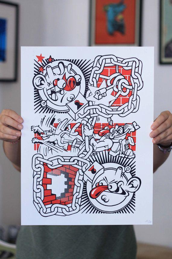PRIS EN FLAG' x Nefrit  Affiche sérigraphie  2/2 par CapsuleFactory