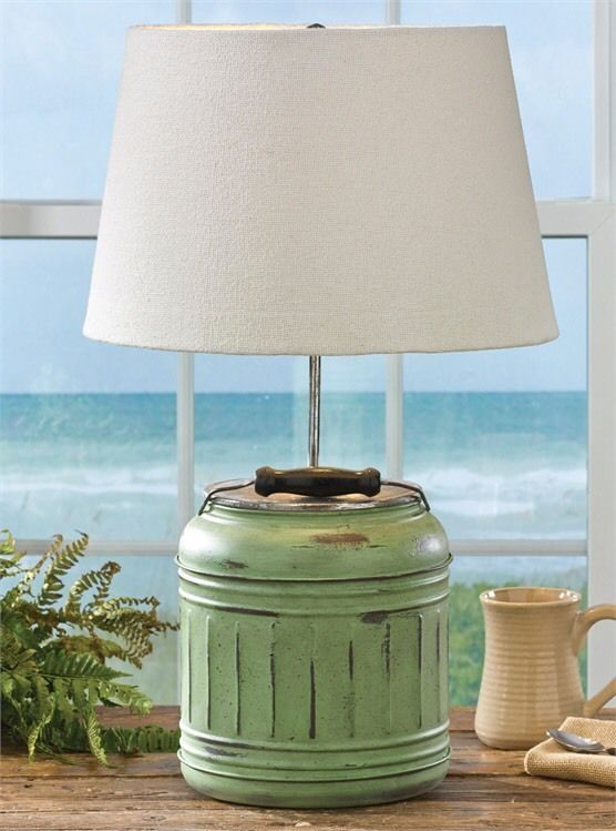 Picnic Cooler Jug Lamp With Shade By Park Designs Country Rustic Primitive Decor  | eBay