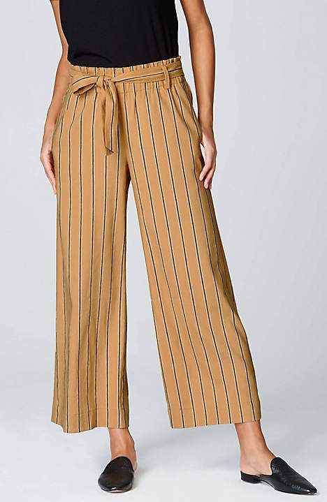 731a84b967 Image for Emilie Full-Leg Crops from JJill Striped Pants, Plus Size Women,