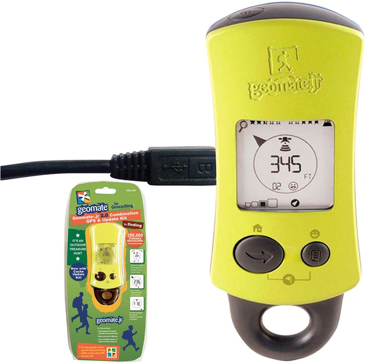 Geomate Jr. 2.0 Geocaching GPS Combo Kit and over 7,500 other quality toys at Fat Brain Toys. Kids grab their Jr. Geocaching GPS unit and are on a mission to find Geocache treasure! Switch on the GPS, get longitude and latitude coordinates, select location, (250,000 preloaded locations) - Then, get tracking!