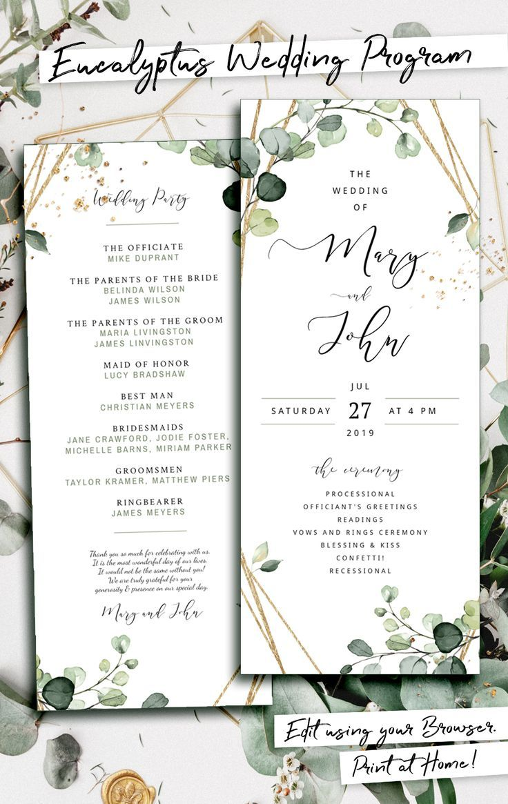 Elisa Boho Greenery Wedding Programs Template Printable Etsy In 2020 Wedding Invitation Templates Wedding Invitations Diy Wedding Programs