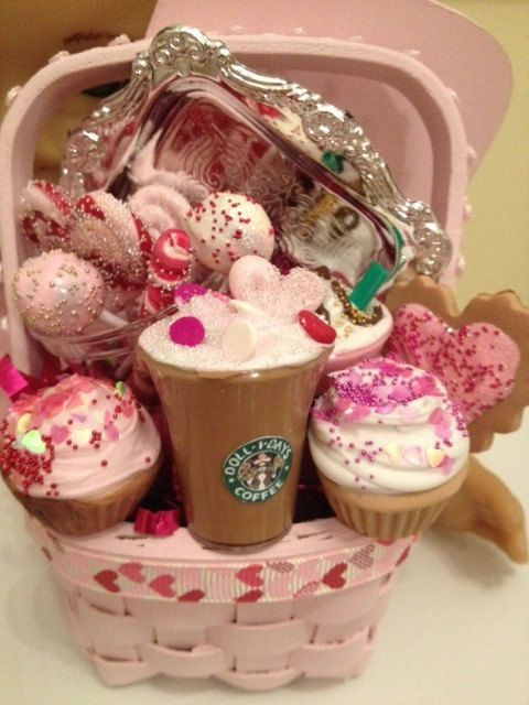 Valentine's basket of faux food for your American Girl doll
