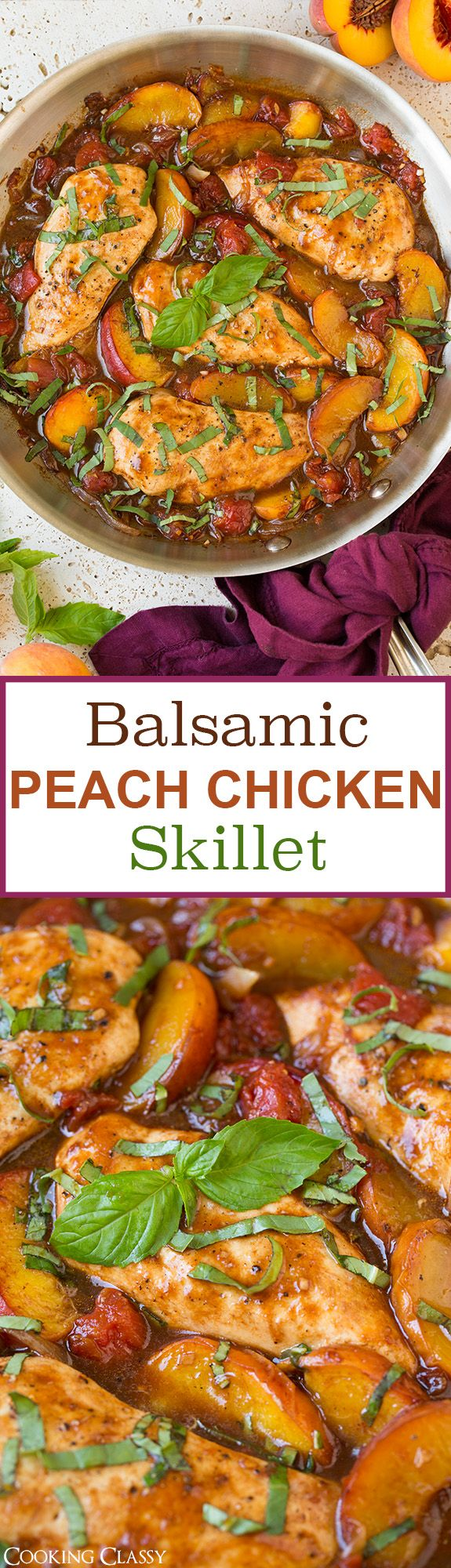 Balsamic Peach Chicken Skillet - this is SO FLAVORFUL! I absolutely loved it! The combination of fresh peaches, basil and balsamic vinegar gives chicken such a  delicious upgrade.