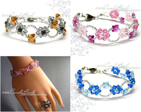 Swarovski bracelet Rosy Pink Copper Black Blue Aquamarine